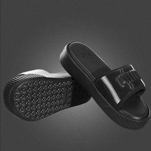 Puma Black Platform Slides Sandals 7.5